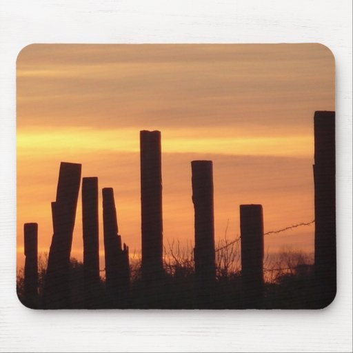 sunset fence mouse pad