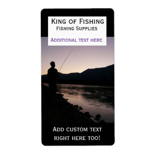 Sunset Fisherman Fishing Supplies Label Sticker