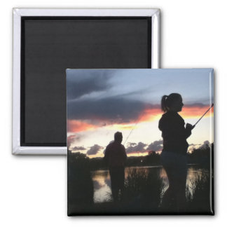 Sunset Fishing 2 Inch Square Magnet