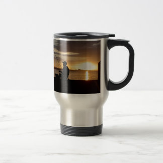 Sunset Fishing Point Of View Travel Mug