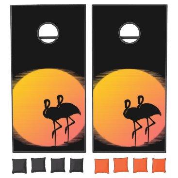 Beach Themed Sunset Flamingo Regulation Size Cornhole Set