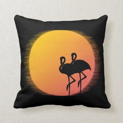 Sunset Flamingos Throw Pillow