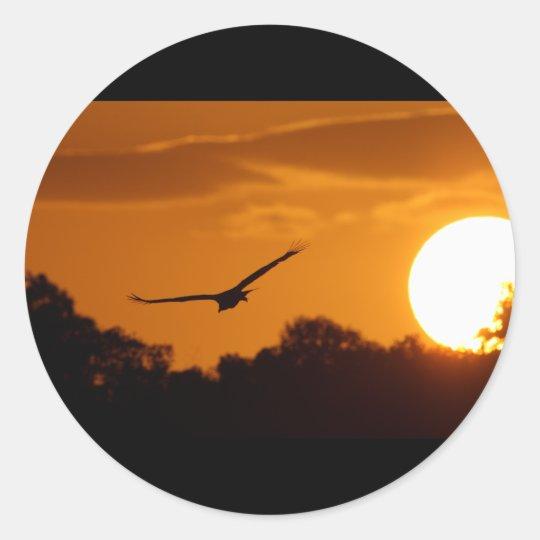 Sunset Flight Classic Round Sticker