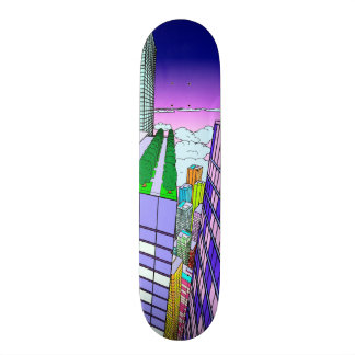 Sunset Flight Over the City Skateboard Deck