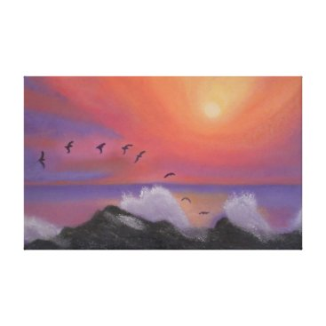 Beach Themed Sunset Flight Wrapped Canvas Print