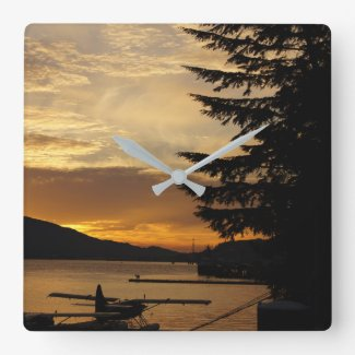Sunset Float Plane Clock