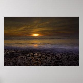 Sunset - floating wave poster