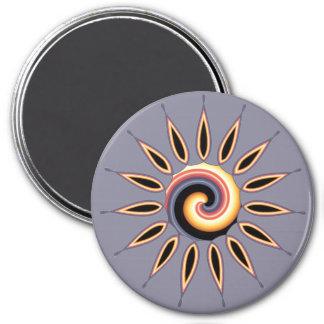 Sunset Flower 3 Inch Round Magnet