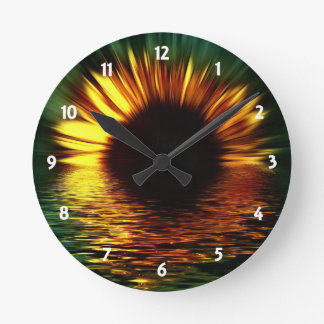 Sunset Flower Round Clock