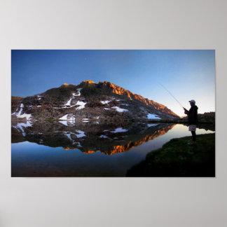 Sunset Fly Fisherman at Guitar Lake - JMT Poster