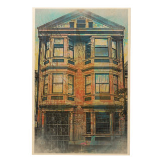 Sunset for a Victorian in SanFrancisco Mission SFC Wood Wall Art