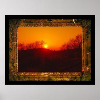Sunset framed poster