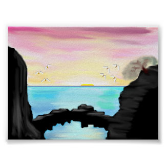 Sunset From A Sea Cave Poster