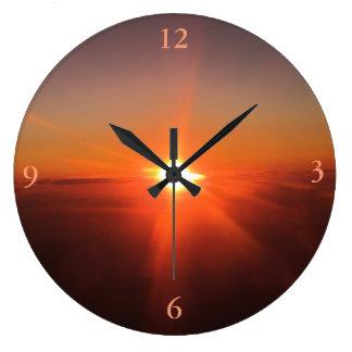 Sunset from an Aircraft Clock