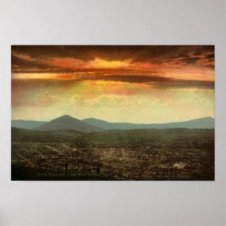 SUNSET FROM CRIPPLE CREEK-PHOTOCHROM PRINT