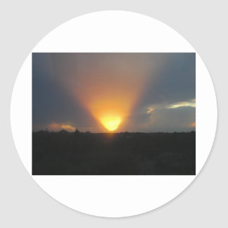 Sunset from the Monorail Round Stickers