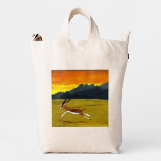 Sunset Gazelle Wild Animal Art Duck Bag