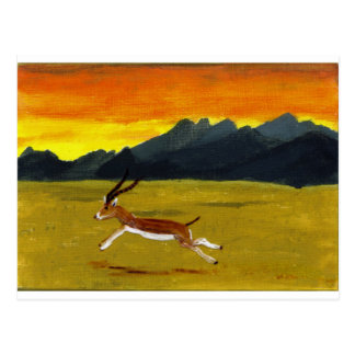 Sunset Gazelle wildlife art Postcard