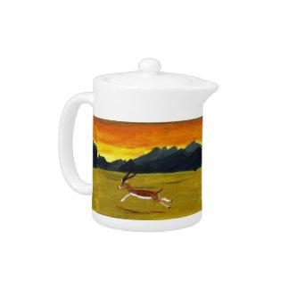 Sunset Gazelle wildlife art Teapot