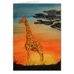 Sunset giraffe greeting cards