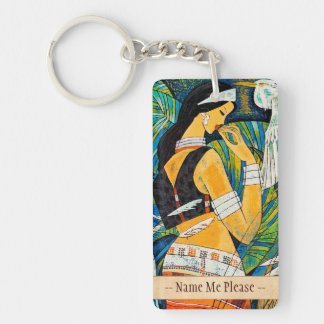 Sunset Glow Hao Ping oriental abstract lady birds Keychain