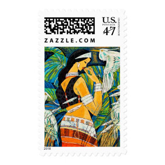 Sunset Glow Hao Ping oriental abstract lady birds Stamp