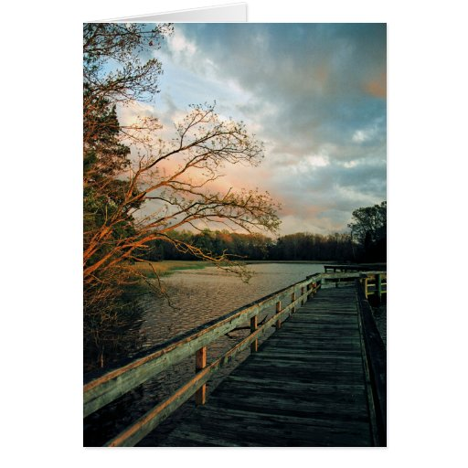 Sunset Glow on Pier notecards Card