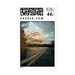 Sunset Glow on Pier postage stamps zazzle_stamp