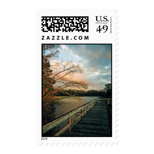 Sunset Glow on Pier postage stamps
