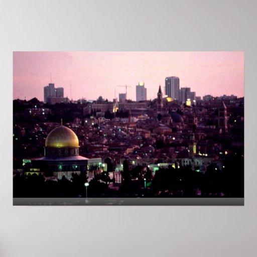 Sunset glow over Old City of Jerusalem, Israel Poster