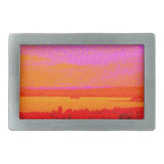 Sunset glow rectangular belt buckle