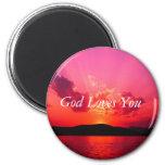 Sunset, God Loves You Refrigerator Magnets
