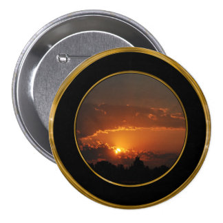 Sunset Golden Rays 3 Inch Round Button
