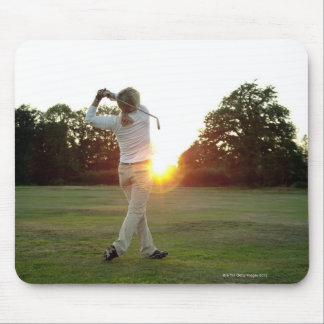 Sunset golf swing mouse pad