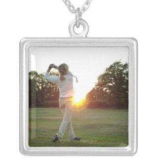 Sunset golf swing square pendant necklace