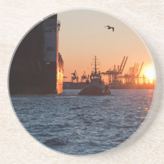 Sunset Hamburg Harbour Beverage Coaster