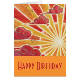 Sunset 'Happy Birthday' card orange