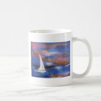 Sunset Harbor Sail Seascape Painting Coffee Mug