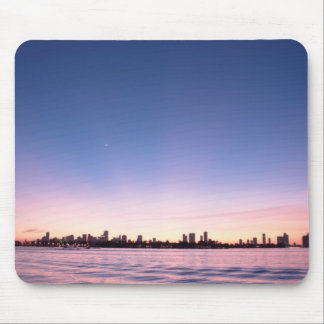 sunset harbor view mouse pad