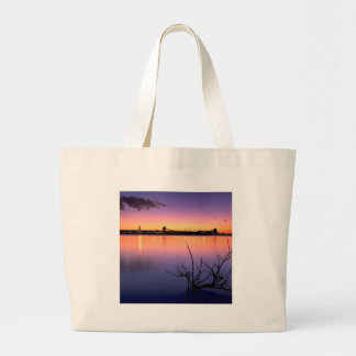 Sunset Harbour Night Tote Bags