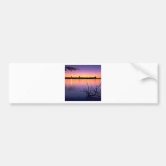 Sunset Harbour Night Car Bumper Sticker