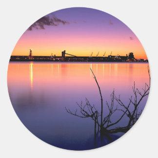 Sunset Harbour Night Classic Round Sticker