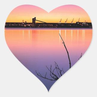 Sunset Harbour Night Heart Sticker