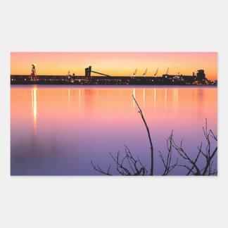 Sunset Harbour Night Rectangular Sticker