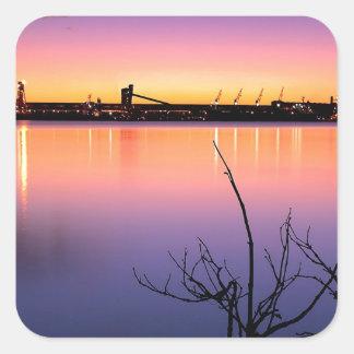Sunset Harbour Night Square Sticker