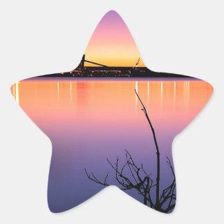 Sunset Harbour Night Star Sticker