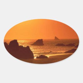Sunset Harris Beach Oregon Oval Sticker