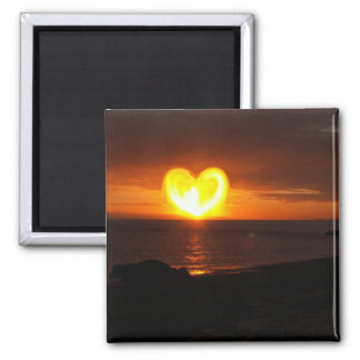 Sunset Heart 2 Inch Square Magnet
