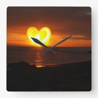 Sunset Heart Square Wall Clock