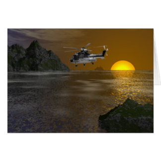 Sunset Helicopter Card